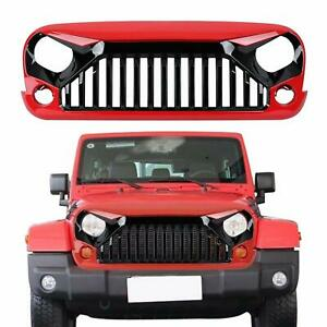 Red Blcak Front Grille Bumper Guard Grill Grid For Jeep Wrangler Jk 2007 2018