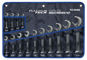 Platinum Tech 14pc 4 way Angle Open End Wrench Set 3 8 To 1 1 4 99400