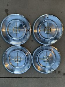 1960 Lincoln Mark V Continental Hubcaps Wheel Covers Center Caps Vintage 15 In