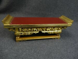 Japanese Vintage Buddhist Alter Stand Kyozukue Lacquered Wood Gold Gilt Shrine