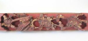 Antique Chinese Carved Wood Panel Bird Flowers 18 Inches Red Gold