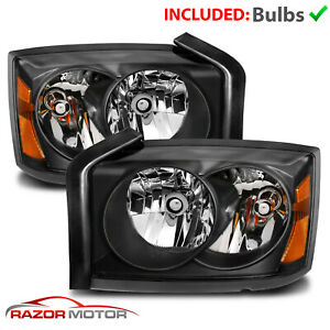 05 07 Dodge Dakota St Slt Factory Style Black Housing Headlights With Clear Lens