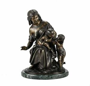 French Bronze Figural Group Of Egyptian Woman Child By Francois Grande