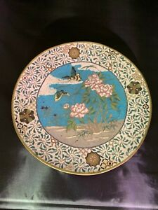 Antique Japanese Cloisonne Plate With Flower Butterflies