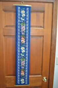Beautiful Blue Floral Needlepoint Bell Pull