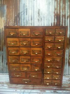 Antique 36 Drawer Apothecary Hardware Parts Bin Cabinet Catalog Industrial File