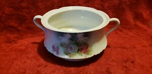 Antique Porcelain Floral White Chamber Pot Or Soup Tureen Two Handled Germany