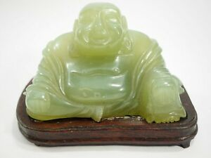 Large Hand Carved Nephrite Chinese Buddha On Custom Base 5 X 3 X 3 5
