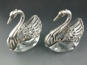 Pr 800 Silver Crystal Figural Swan Form Salt Cellars Dishes W Moveable Wings