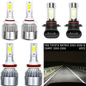 6pcs White Cob Led Headlight Hi low fog Light Suit For Silverado 2003 2006