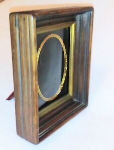 Antique Victorian Wood Curved Glass Small Picture Frame Velvet Back 6 X 5 X 2 5