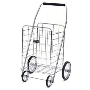 Shopping Cart Wheel Steel Frame Foldin Durable Heavy Duty Rust Resistant Trolley