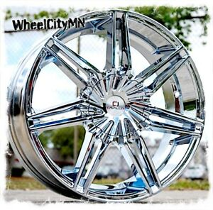 24 Inch Chrome Cavallo Clv19 Wheels Fits Chevy Silverado Tahoe Gmc Denali 6x5 5