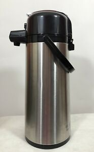 Service Ideas Brushed Stainless Steel Airpot Coffee Dispenser Pump 2 2 Liter