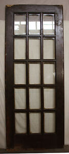 32x80 Antique Vintage Exterior Entry Wood French Swinging Door Glass Lite Window