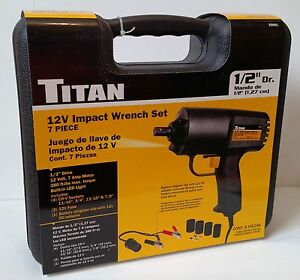 Titan 55601 7 Piece 12v Electric Impact Wrench Set 1 2 Drive Free S H
