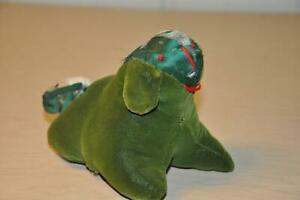 Antique Velvet Silk Dog Mennonite Amish Child Toy Pin Cushion Green Damaged