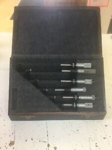 Starrett Micrometer Set No 436 O 6 With One Lufkin Rule Co No 1915 4 5in