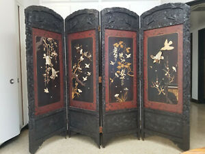 Antique Japanese Hand Carved Wooden Folding Screen With Abalone
