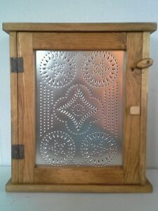 Country Farmhouse Stained Medicine Spice Cabinet Primitive Star Punched Tin