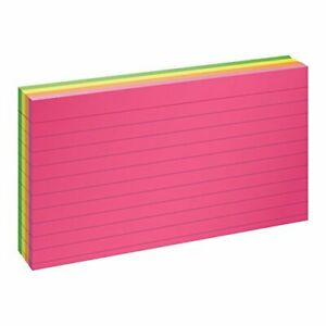 Oxford Glow Index Cards 3 X 5 Ruled Assorted Bright Colors 100 pack