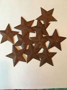 Lot Of 10 Rusty 1 5 1 1 2 Country Barn Stars 3d Rusted Hang Hole Star
