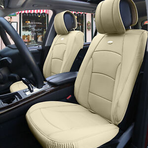 Car Suv Truck Pu Leather Seat Cushion Covers Front Bucket Seats Beige For Auto