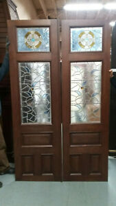 Vintage Antique Stain Glass 19th C Set Of Mahogany Doors