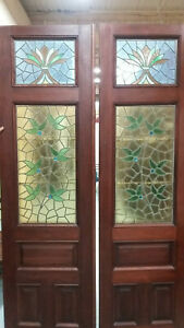 Vintage Antique Stain Glass 19th C Set Of Doors