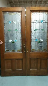 Vintage Antique Victorian Pocket 19th C Set Of Doors With Stained Glass