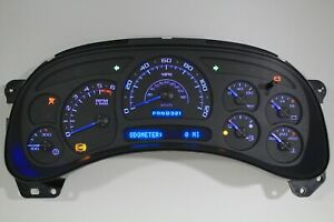 7a 05 06 2005 2006 Custom Black Escalade Silverado Blue Led Replacement Cluster