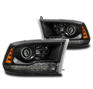 For 2013 2018 Dodge Ram 1500 2500 3500 Truck Black Projector Headlights Headlamp