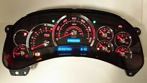 7d 05 06 2005 2006 Platinum Black Silverado Red Led Whole Replacement Cluster