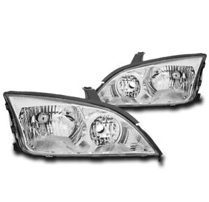 For 2005 2007 Ford Focus Chrome Set Crystal Style Headlight Lamp Left Right Pair