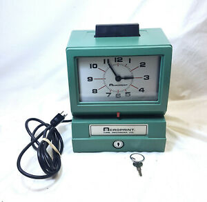 Acroprint Time Recorder Time Clock Model 125rr4 Hardly Used With Key