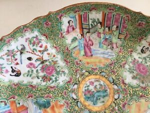 Antique 1800 S Hand Painted Beetles Chinese Rose Medallion Gold Large Platter