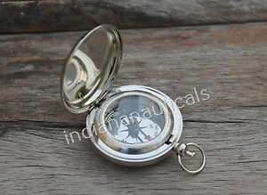 2 Nautical Brass Push Button Pocket Compass Vintage Maritime Reproduction Item