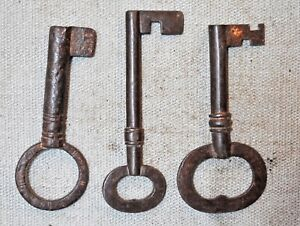 Lot Of 3 Original Old Antique Hand Crafted Iron Big French Grill Doors Key