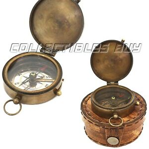 Marine Brass Compass Nautical Maritime Vintage Antique Sailor Navigation Pocket