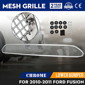 Mesh Grille For 2010 2012 Ford Fusion Lower Bumper Chrome Color Set Customized
