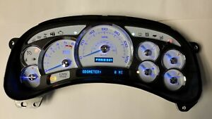 8b 05 06 2005 2006 Platinum White Silverado Blue Led Whole Instrument Cluster