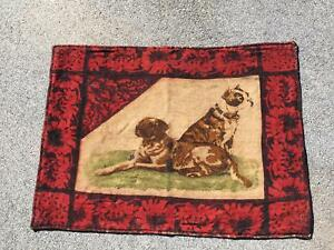 Antique Stroock Buggy Sleigh Carriage Lap Robe W Dogs Pug Frenchie Bulldog