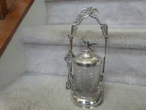 Great Antique Victorian Silverplate Pickle Castor W Bird Finial And Tongs 11