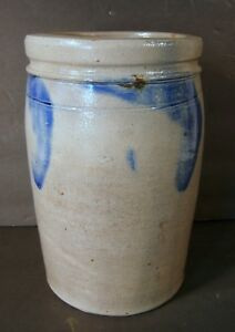 Blue Decorated Stoneware Crock 19th C