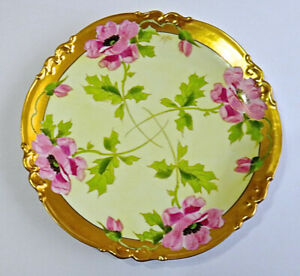 Antique Ak Limoges Pink Poppies Charger Plate 13 Stouffer Artist Signed Hiroy