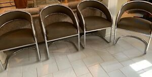 Vintage Silver Metal Brown Office Reception Waiting Room Dining Chairs