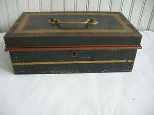 Antique Vtg Bank Enamel Metal Box Vtg Black Tin Cash Deed Strong Tole Painted