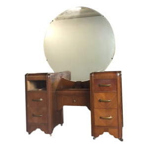 Vintage Antique Art Deco Vanity Dresser With Round Mirror