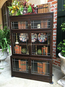 Antique English Dark Oak Bookcase Stacking Barrister Leaded Glass Bookshelf