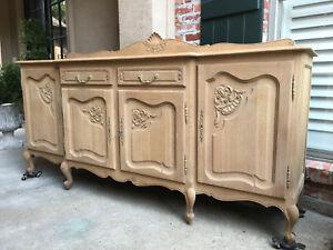 Antique French Carved Oak Louis Xv Sideboard Buffet Bleached Finish Breakfront